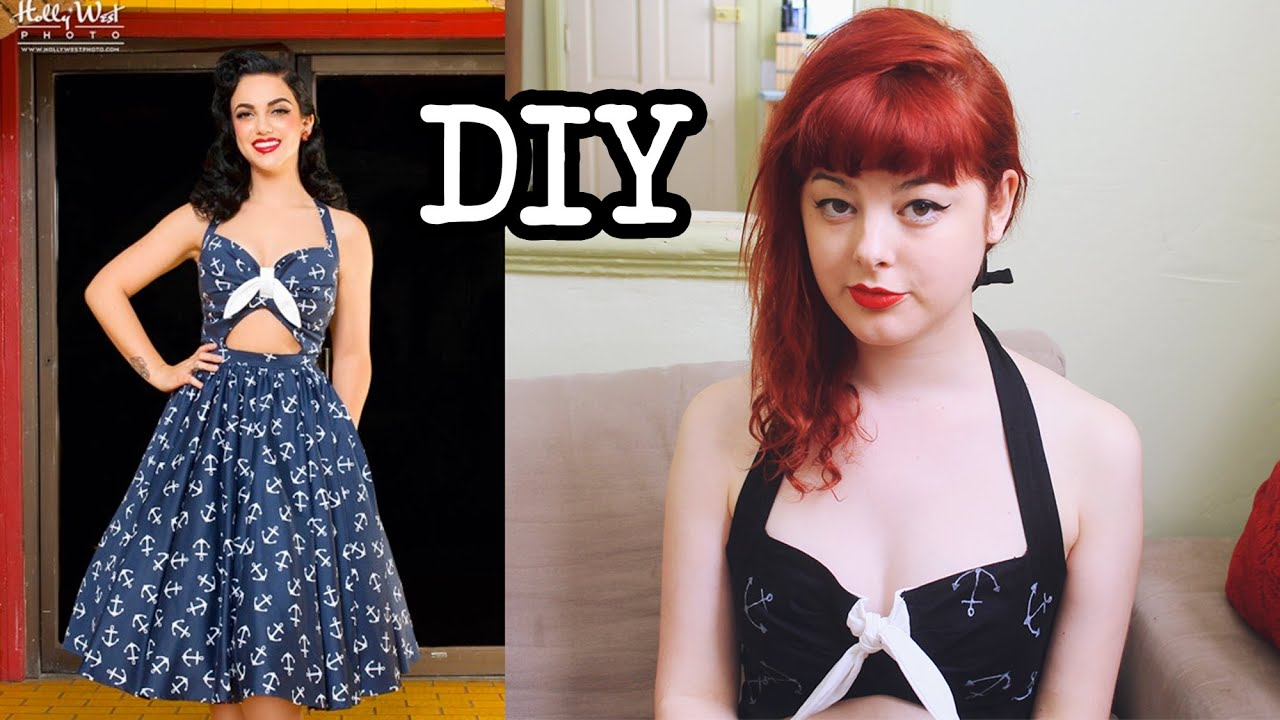 diy sailor pin up dress make thrift buy 3 youtube - Pin Up Girl Halloween Costumes 2017