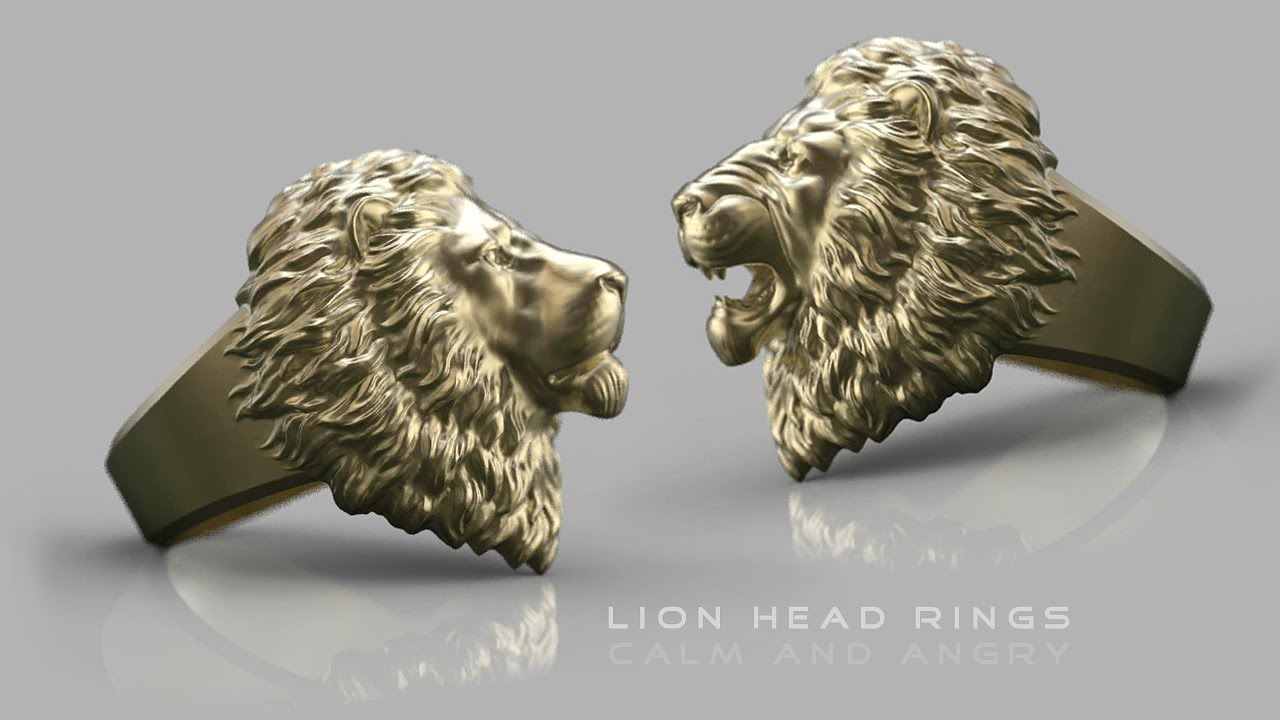 men stainless ring quality angels product head iron lions high steel solid lion tusk rings