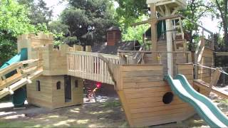 Castle Playhouse, Pirate Ship Playhouse And Tree Bridge