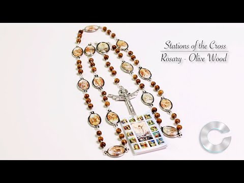 Stations Of The Cross Rosary - Olive Wood HD