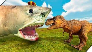 КОРОЛЕВСКАЯ АКУЛА МЕГАЛОДОН ПРОТИВ ДИНОЗАВРОВ - Игра Beast Battle Simulator  Битва динозавров