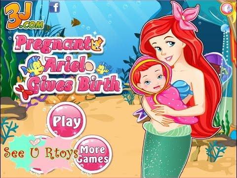 ♥ เกมส์ เจ้าหญิงเงือกน้อย เมอร์เมด เอเรียลคลอดลูก Pregnant Ariel mermaid Gives Birth baby♥