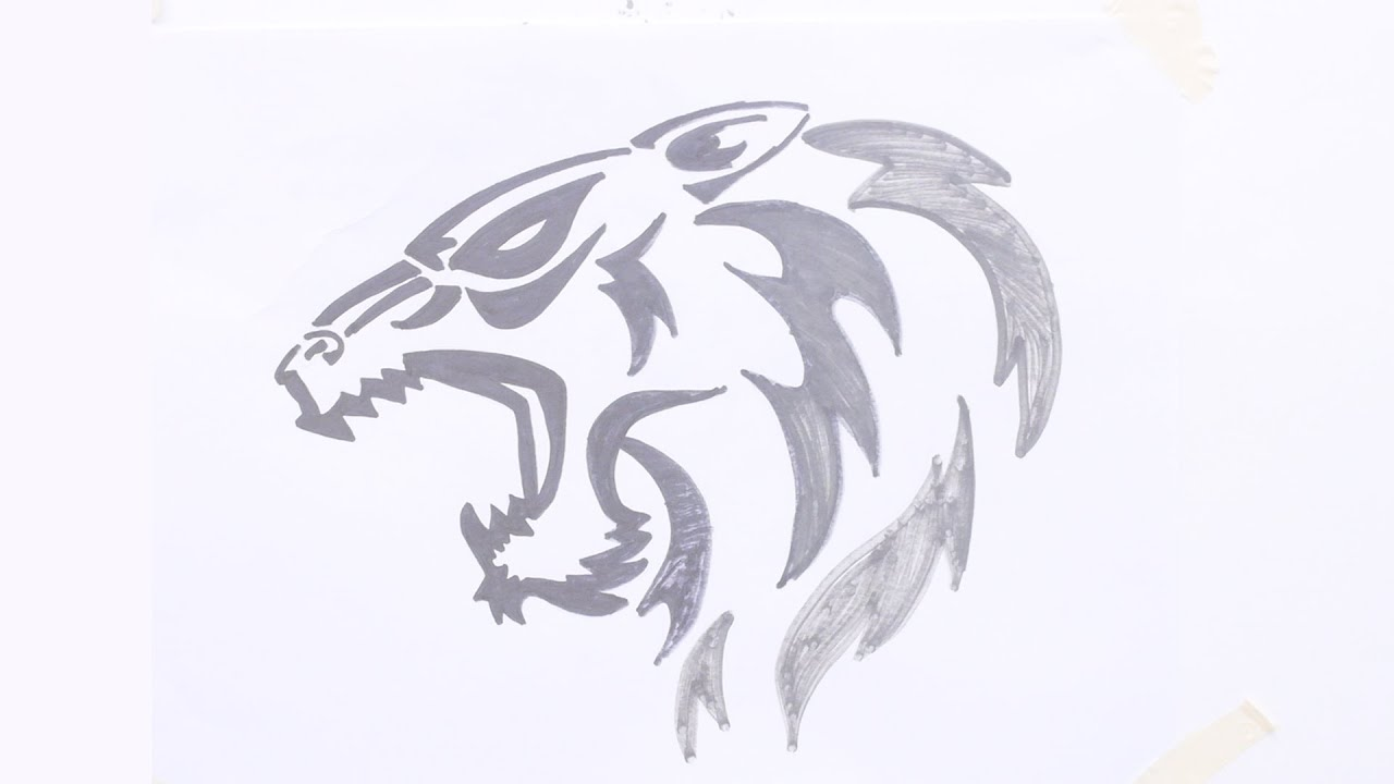bf9f36eda How to draw tiger head tribal tattoo - YouTube