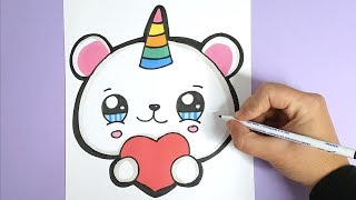 How to draw a CUTE Unicorn Polar Bear Emoji step by step