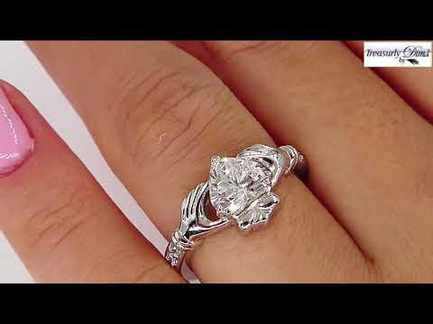 gia-1.12ct-heart-diamond-irish-claddagh-engagement-wedding-platinum-estate-vintage-ring
