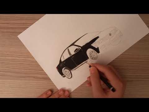 How to draw a car Volkswagen Caddy - Kolay Volkswagen Caddy Araba Çizimi