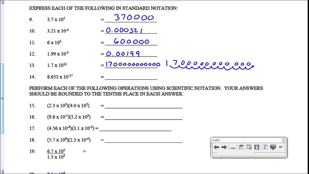 Scientific Notation Worksheet - Key - YouTube