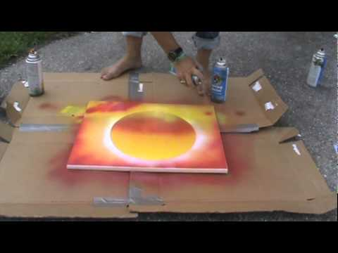 spray paint art sunset youtube. Black Bedroom Furniture Sets. Home Design Ideas