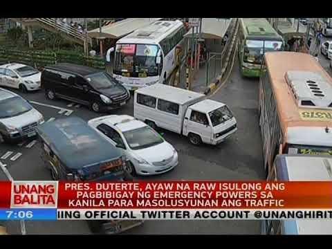 PRRD, ayaw na raw isulong ang pagbibigay ng emergency powers sa kanila para masolusyunan ang traffic
