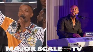 "R&B Singer ""Tank"" on organ with Jamie Foxx singing at church"