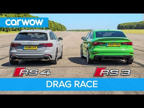 Audi RS4 vs RS3 - DRAG RACE, ROLLING RACE & BRAKE TEST
