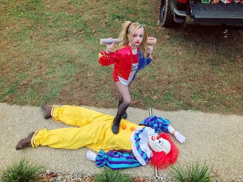 Harley Quinn takes out the creepy scary killer clown and sav