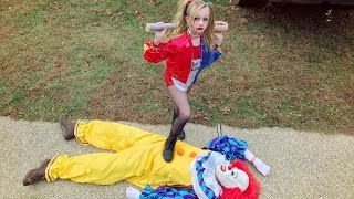harley quinn takes out the creepy scary killer clown and saves christmas new skit