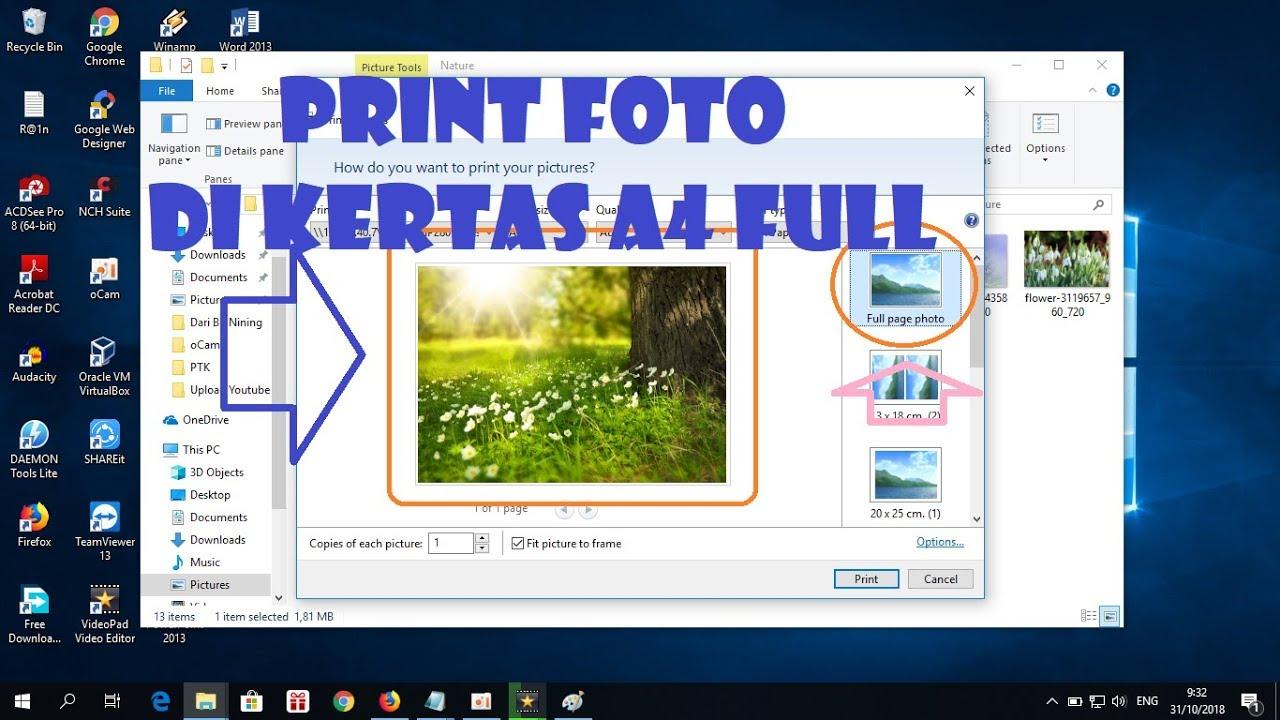 Cara Ngeprint Foto Di Kertas A4 Atau Glossy Secara Full Atau Penuh Youtube