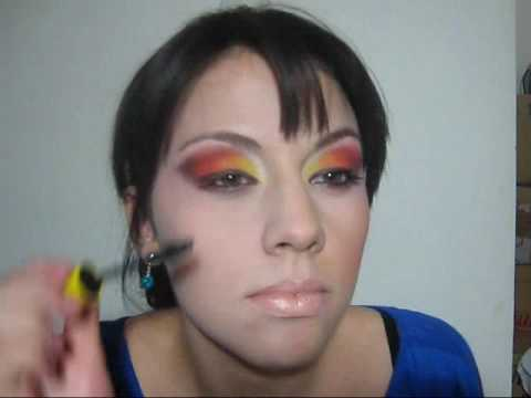 Look de ojos amarillo naranja y rojo youtube - Amarillo naranja ...