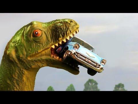 Мультики про машинки | Динозавр напал на город машинок, пикап, полицию и кабриолет