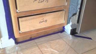 How to Paint Kitchen Cabinets: Step 6 Taping & Setup