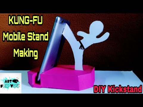 How to make Phone Kickstand | Kungfu mobile stand with Cardboard | phone stand for desk | Diy Crafts