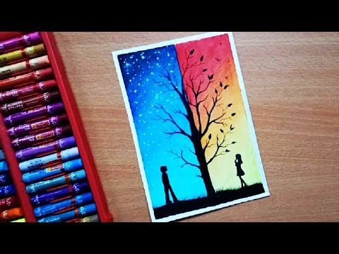 Sunset ft Moonlight Scenery Drawing with Oil Pastels Step by Step