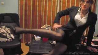 Crossdressing wearing a sexy business suit & seamed nylon stockings part 2