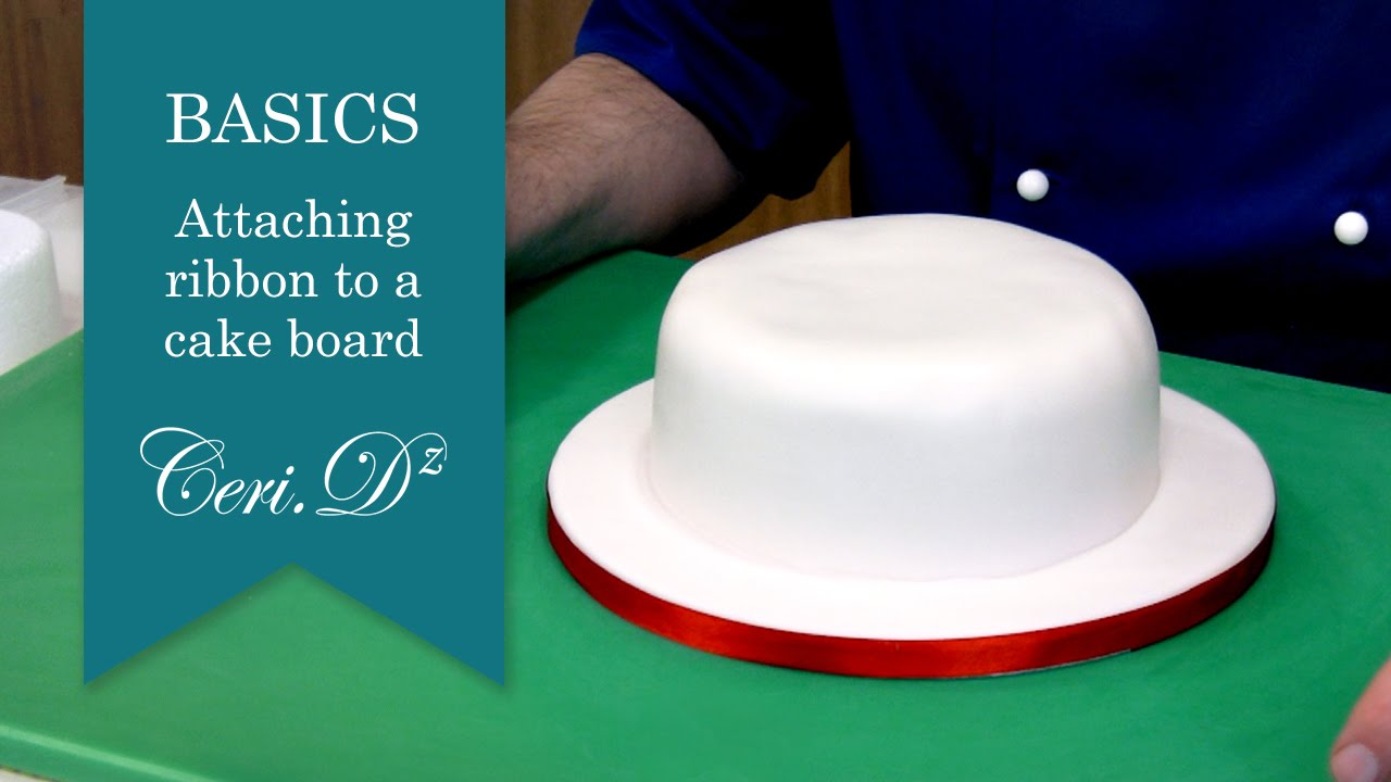 How To Remove Double Sided Tape >> Basics #6   Attaching a ribbon to a cake board - YouTube