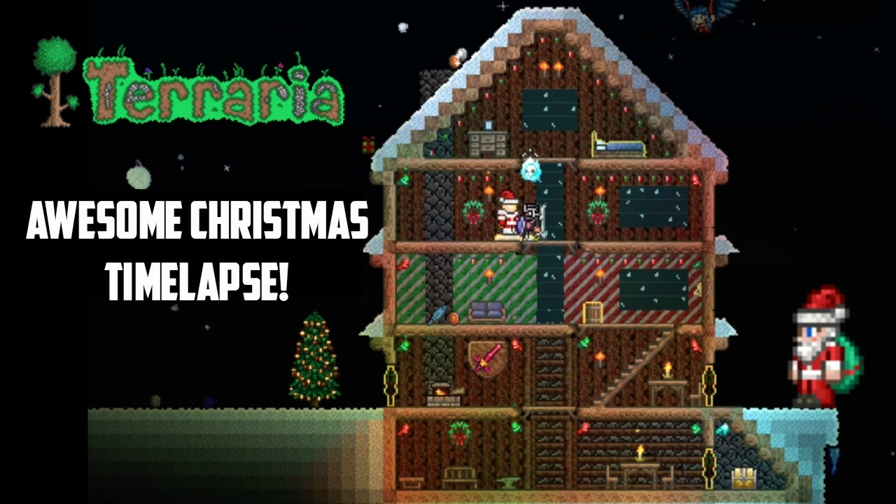 Terraria Christmas House.Terraria Ios Awesome Christmas Build Timelapse Holiday Special Part 2
