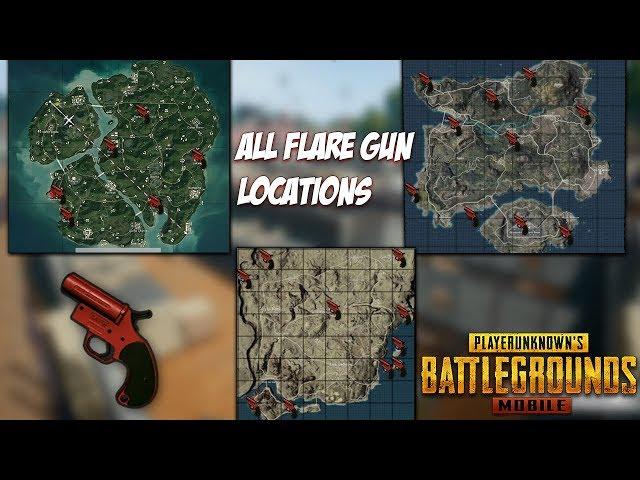 PUBG MOBILE - ALL FLARE GUN LOCATIONS // ERANGEL, MIRAMAR ,SANHOK !!