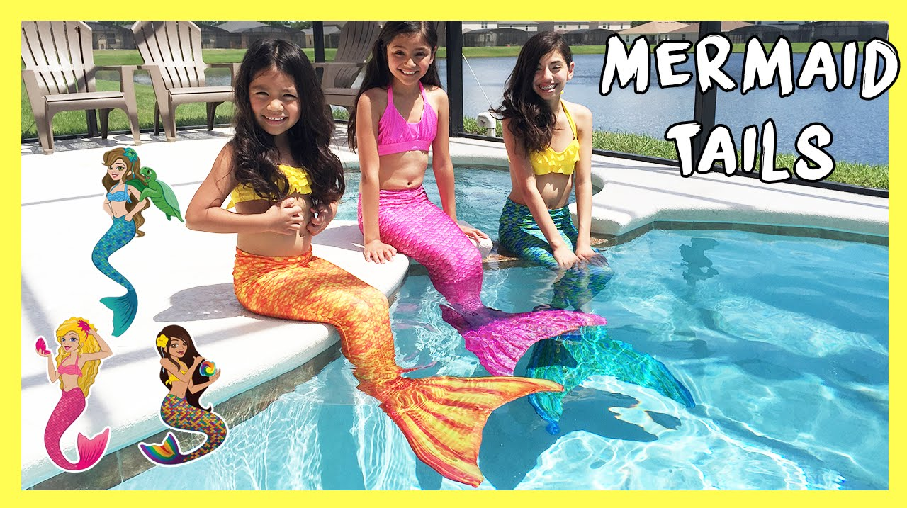 FIN FUN MERMAID TAILS - Live Mermaids Swimming In Our Pool - YouTube 436188908