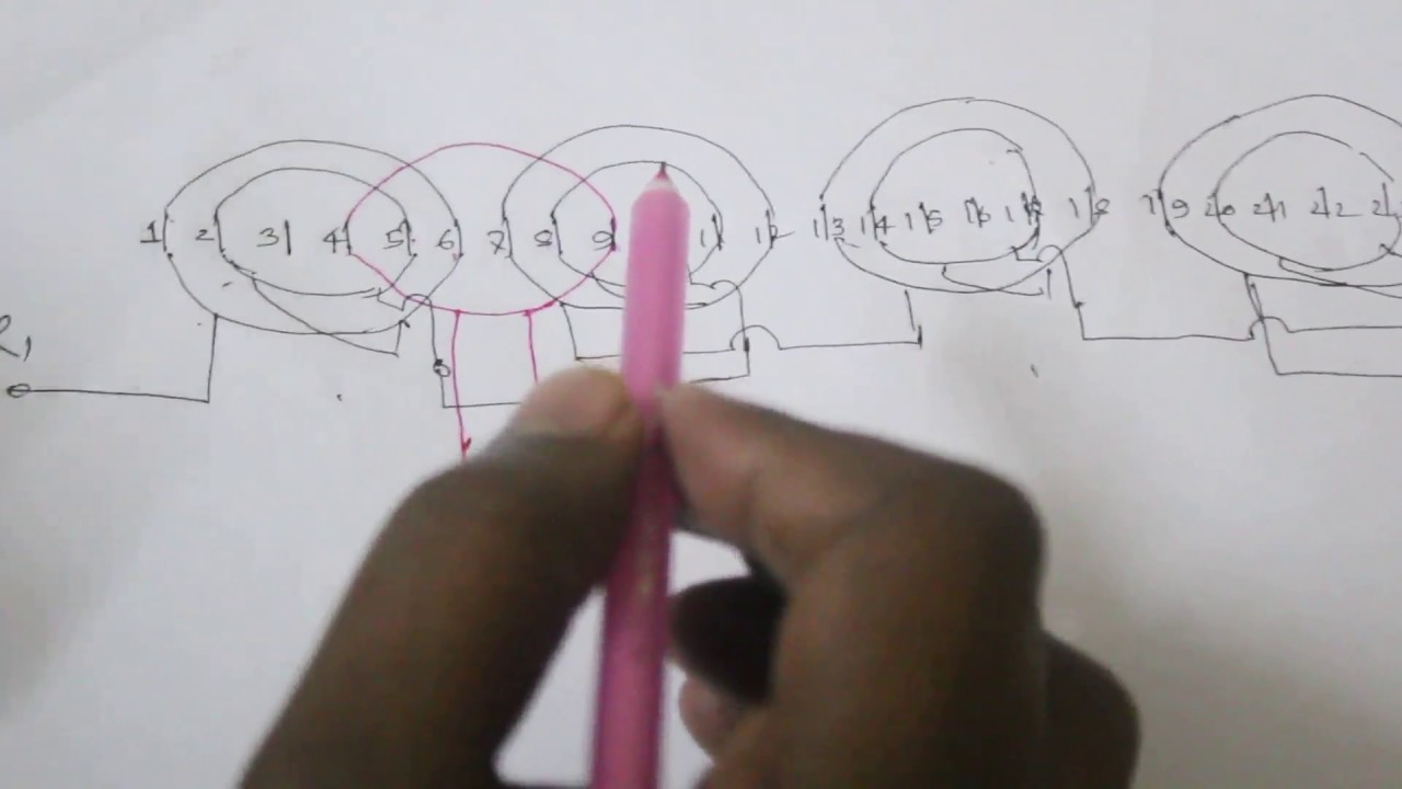 how to make single phase motor 4 pole basket rewinding diagram | how to draw single layer