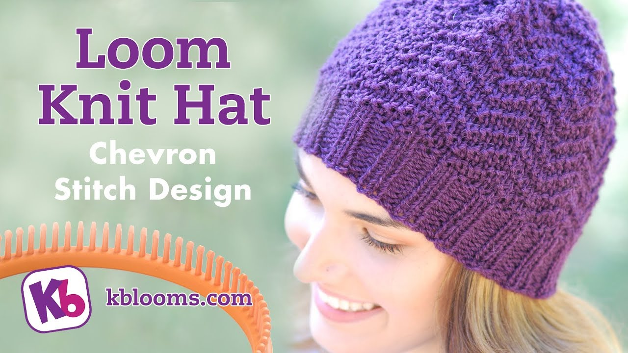 Loom Knit Hat Chevron Stitch Pattern Youtube