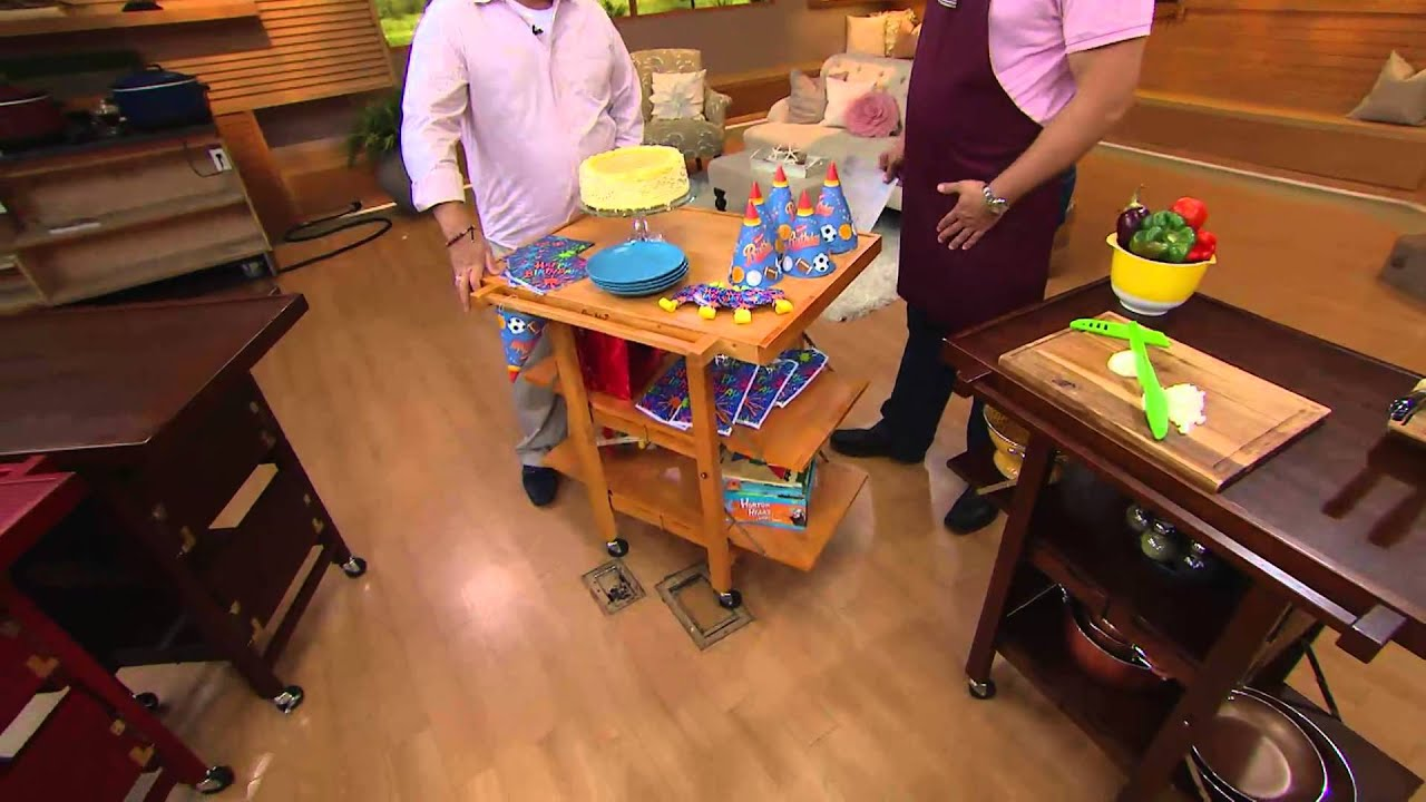 Folding Island Kitchen Cart With Extendable Shelves With David YouTube