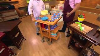 Folding Island Kitchen Cart With Extendable Shelves With David