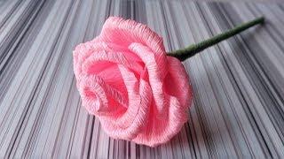 Троянда з гофрованого паперу Покрокова інструкція