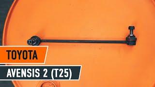 Montering af Stabstag bag venstre TOYOTA AVENSIS (T25_): gratis video