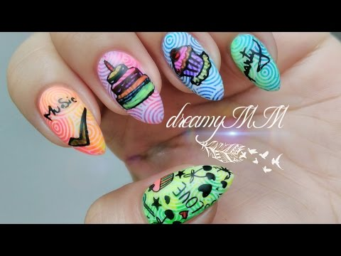 Funky Neon party Stamping Nail Art