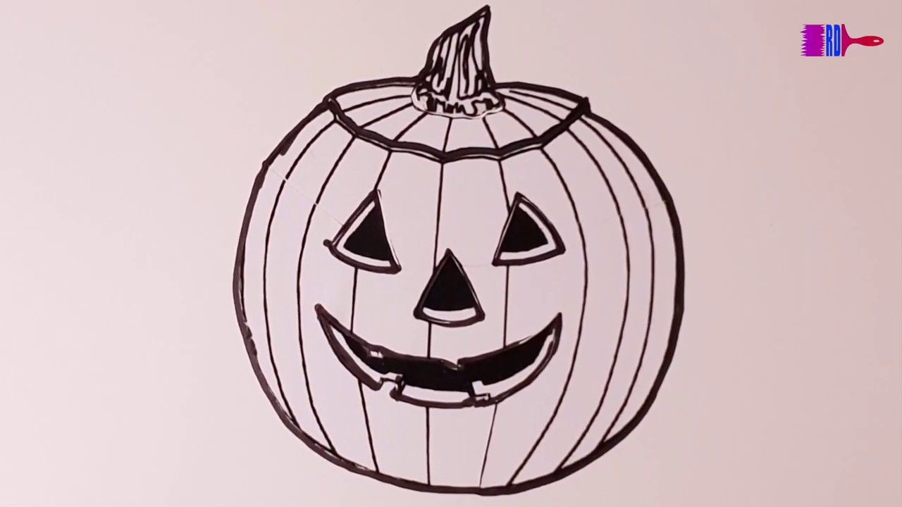 Halloween Glitter Pumpkin Coloring & Drawing For Kids ...