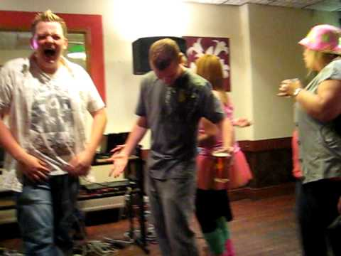 Aldo and his new mate Chris karaoke in Dolgellau