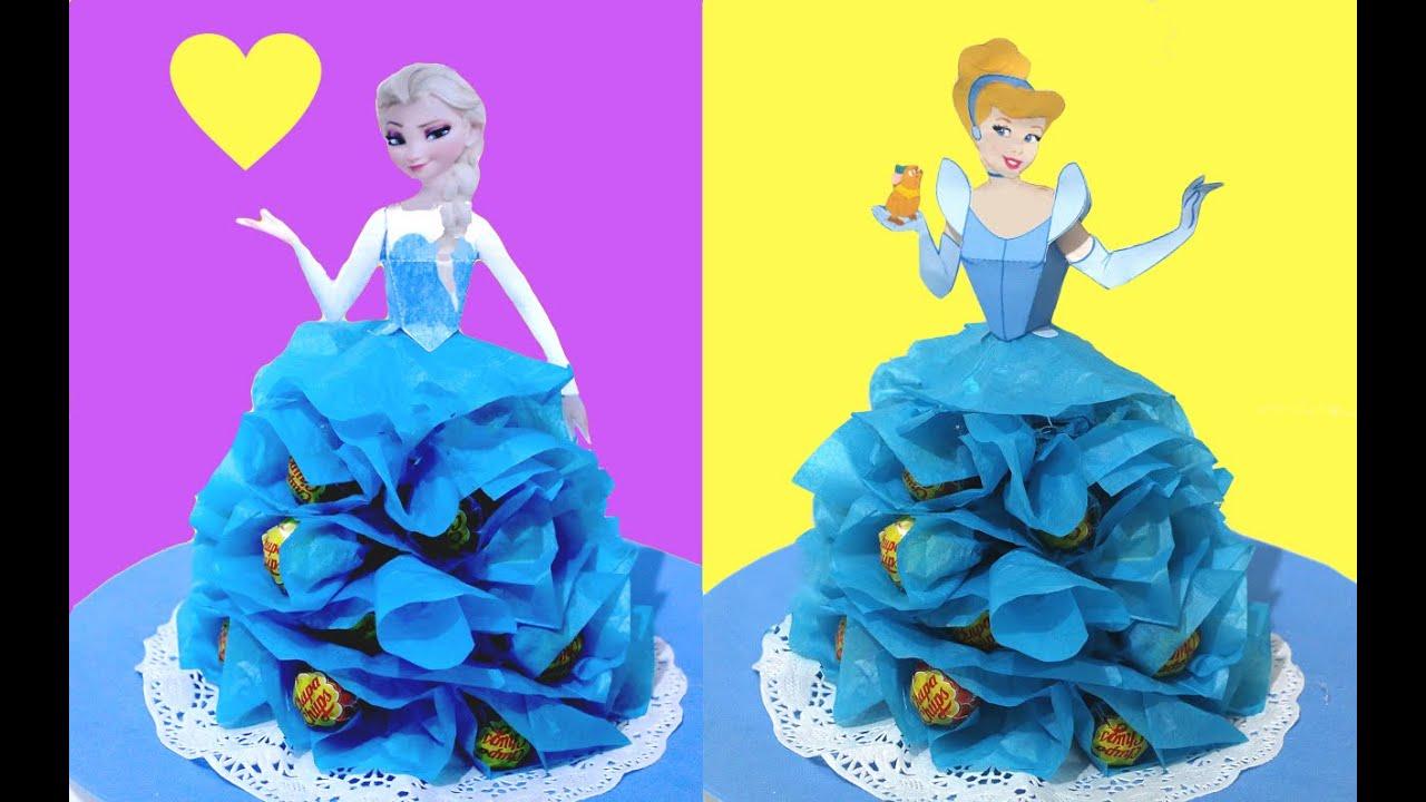 Centro de mesa de princesas con chupa chups o caramelos - Fiestas infantiles princesas disney ...
