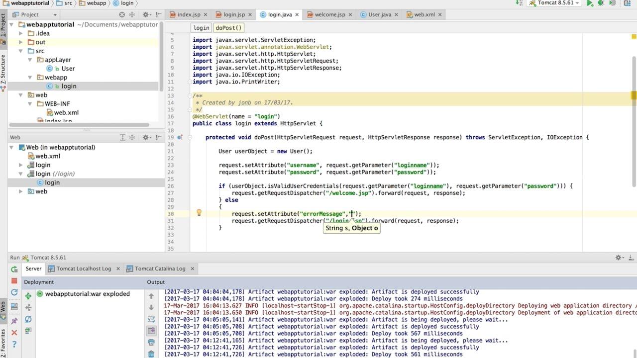 Part 1 1: Java EE Webapplication with servlet and jsp page