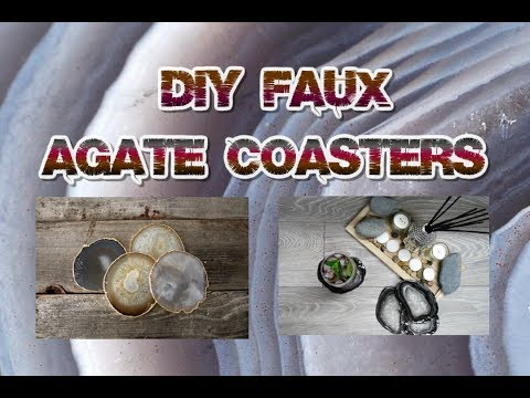 DIY Faux Agate Coasters Gold Rim | Tumblr Inspired Easy Cheap Crystal Polymer Clay Tutorial
