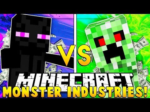 MInecraft MONSTERS INDUSTRIES - TEAM CREEPERS VS TEAM ENDERMAN (Buy GOD SWORDS + SUPER ARMOR)