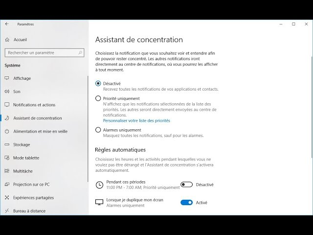 Comment utiliser l'Assistant de concentration de Windows 10