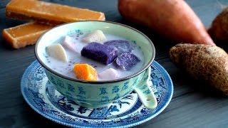 Asian Dessert Soup: Sweet Potato And Taro In Coconut Milk With Tapioca 椰汁番薯芋頭西米露 154