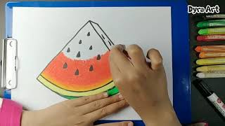 How To Draw Watermelon Coloring Pages Fruit | Learn Drawing fo Kids