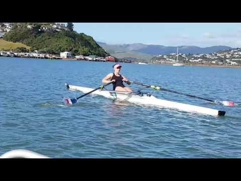 Olivia Taylor rowing Porirua Harbour