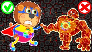 Lion Family 🌋 Lava Giant from Magic Dungeon | Cartoon for Kids