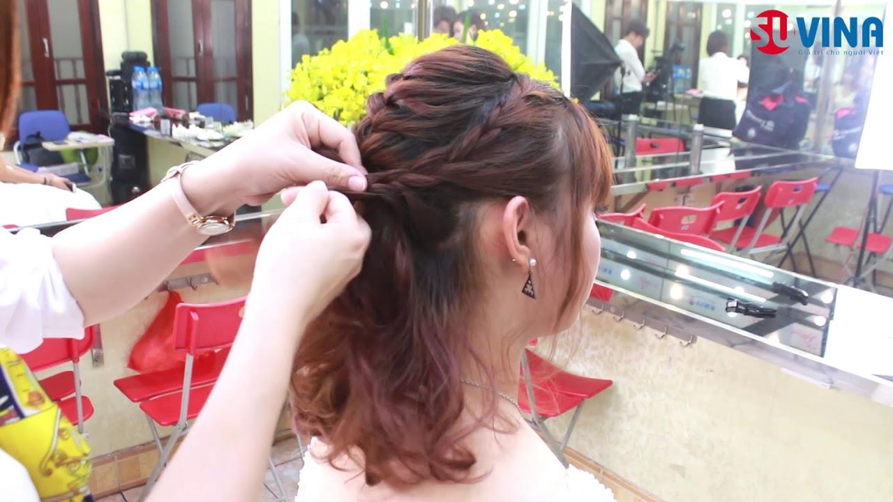 Hướng dẫn cách bới tóc cô dâu theo kiểu tóc tết rối
