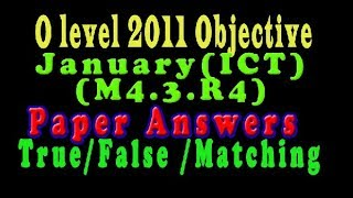 O Level Doeacc/Nielit O Level 2011 January Solve Question  ICT (M4.3.R4)Paper  (Objection Type)