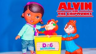 ALVIN AND THE CHIPMUNKS + DOC MCSTUFFINS Christmas Pox Slime Prank Toy Parody Video