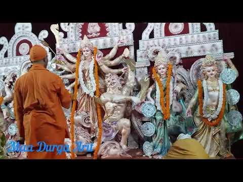 Maa Durgas Arti Done  SwMangalananda Puri in Sector61 Noida Durga Puja